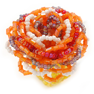 Orange/ White/ Lavender Glass Bead Flower Stretch Ring - 40mm D