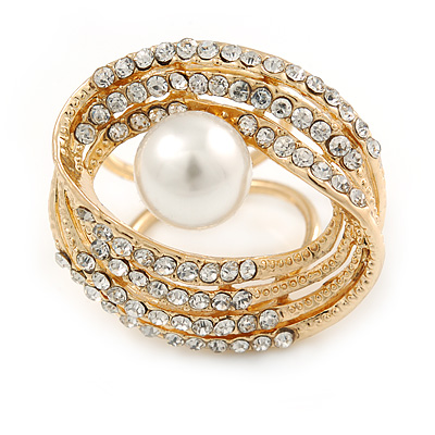 Large White Glass Pearl Diamante Cocktail Ring In Gold Plating - 35mm Across - Size 7