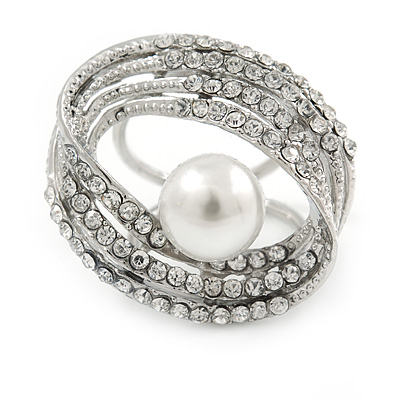 Large White Glass Pearl Diamante Cocktail Ring In Silver Plating - 35mm Across - Size 7