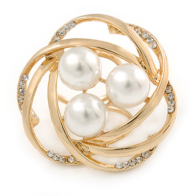 Large White Glass Pearl Diamante Cocktail Ring In Gold Plating - 43mm D - Size 7