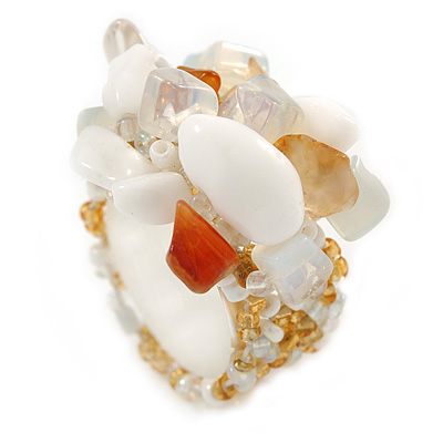 White, Transparent, Citrine Semiprecious Chip Cluster Flex Ring