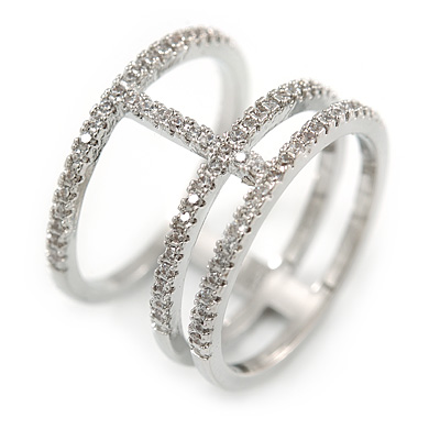 Delicate Clear Cz Structural Band Ring In Rhodium Plated Metal