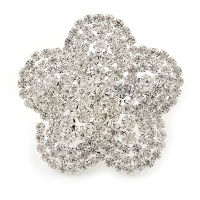 Statement Diamante Flower Cocktail Ring In Silver Tone - Size 7/8 Adjustable