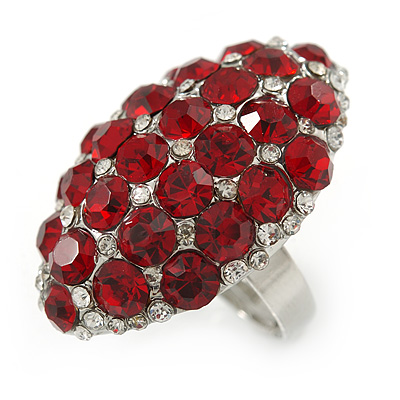 Ruby Red/ Clear Crystal Dome Oval Ring In Silver Tone Metal - 35mm L - Size 7