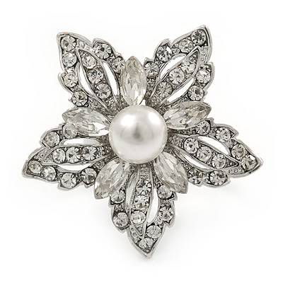 Clear Crystal White Faux Glass Pearl Flower Ring In Silver Tone Metal - 35mm - Size 7