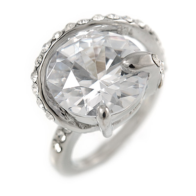 15mm Large Clear Cz Solitair Ring In Rhodium Plated Alloy - size 8