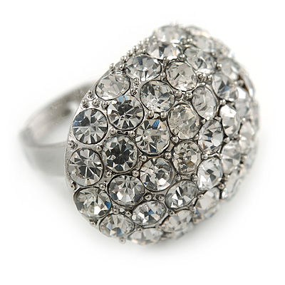 Pave Set Clear Crystal Dome Shape Ring In Silver Tone Metal - 30mm - 7/8 Size - Adjustable