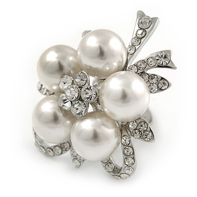 Diamante Simulated Pearl Daisy Cocktail Ring In Rhodium Plated Metal - 45mm D - 7/8 Size Adjustable