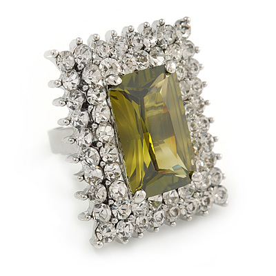 Large Square Clear/ Olive Crystal Ring In Rhodium Plated Metal - Size 7/8 Adjustable
