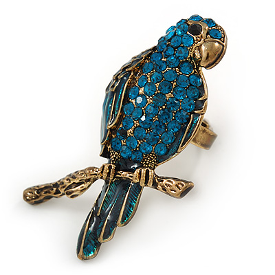 Large Teal Crystal Parrot Bird Ring In Antique Gold Metal - 60mm L - 7/8 Size Adjustable