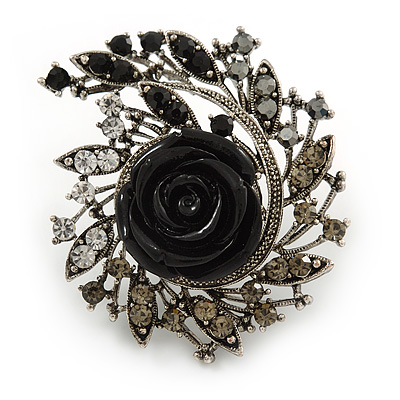 Oversized Black Rose Crystal Leaf Cocktail Ring In Aged Silver Tone - 60mm L - main view