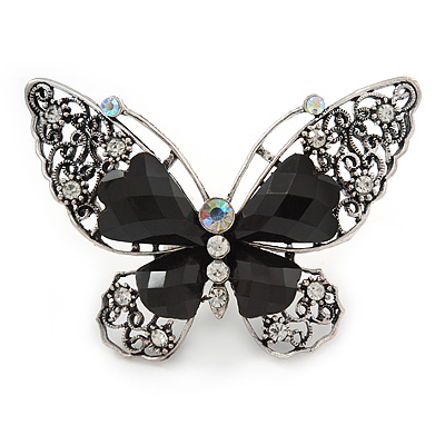 Large Clear Crystal, Black Acrylic Bead Butterfly Ring In Aged Silver Tone Metal - 70mm L - 8 Size Adjustable