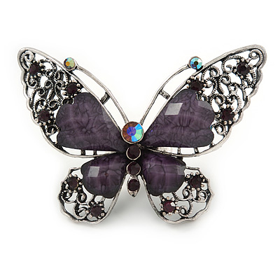 Large Purple Crystal Butterfly Ring In Aged Silver Tone Metal - 70mm L - 8 Size Adjustable