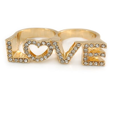 Gold Plated Double Finger Diamante 'Love' Ring - Size 7&8 - 45mm W