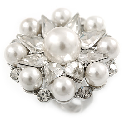 Clear Crystal Simulated Pearl Bead Flower Ring In Rhodium Plated Metal - 30mm D - 7/8 Size Adjustable