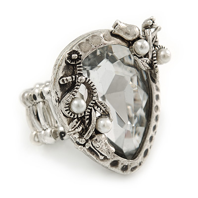 Vintage Inspired Clear Glass Teardrop with Rose Flex Ring In Silver Tone Metal - 7/8 Size