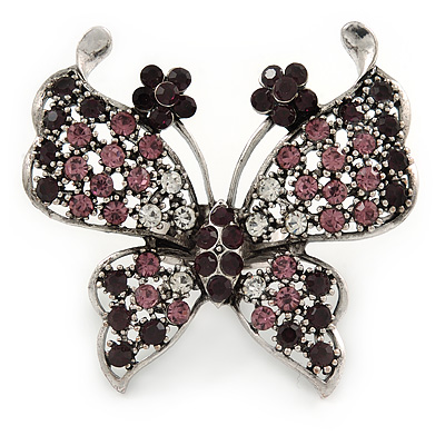 Large Purple/ Clear Crystal Butterfly Ring In Antique Silver Tone Metal - 55mm - Size 8