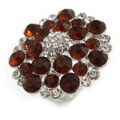 Silver Tone Amber/ Clear Diamante Cocktail Ring (Adjustable Size 7/8)