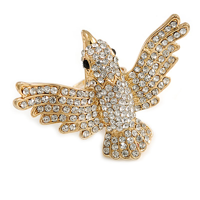 Statement Clear Crystal Bird Ring In Gold Tone Metal - 50mm Across - 7/8 Size Adjustable