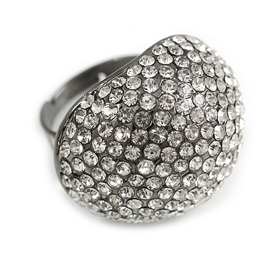 Pave Set Clear Crystal Dome Shape Ring In Black Tone Metal - 27mm Across - 7/8 Size - Adjustable