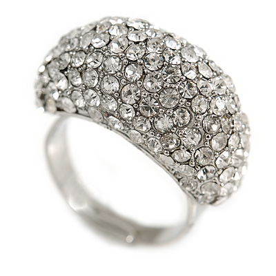 Pave Set Clear Crystal Dome Shape Ring In Silver Tone Metal - 25mm - 7/8 Size - Adjustable