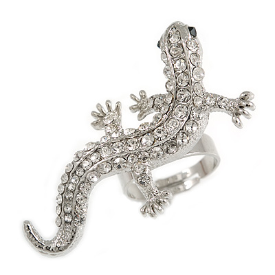 Silver Tone Sculptured Clear Crystal 'Gecko' Statement Ring - Adjustable - Size 7/8 - 4.5cm Length