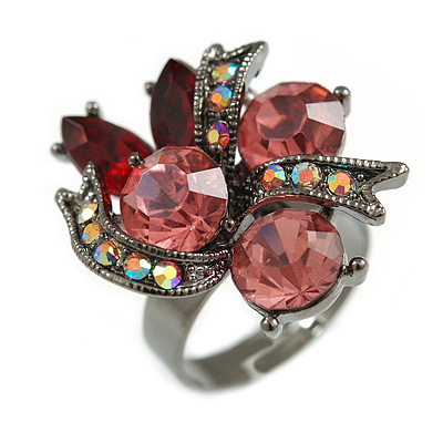 Ruby Red/ Pink/ Ab Crystal Cluster Fashion Ring In Black Tone Metal - 7/8 Size Adjustable