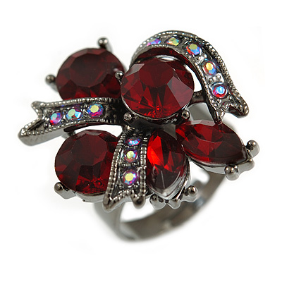 Ruby Red/ Ab Crystal Cluster Fashion Ring In Black Tone Metal  - 7/8 Size Adjustable