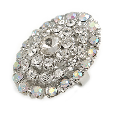 Clear/ Ab Crystal Dome Oval Ring In Silver Tone Metal - 35mm L - Size 7/ 8 Adjustable