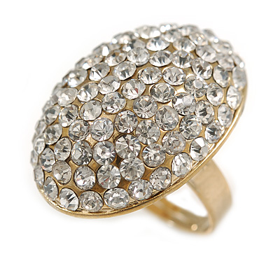Oval Dome Shape Clear Crystal Ring In Gold Tone Metal - 30mm Long - 7/8 Size Adjustable