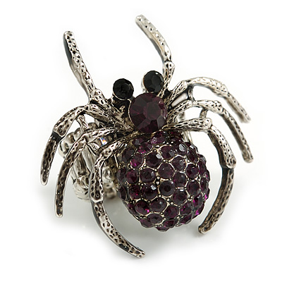 Stunning Deep Purple Crystal Spider Stretch Cocktail Ring in Aged Silver Tone Metal - 45mm Across - 7/8 Size Adjustable