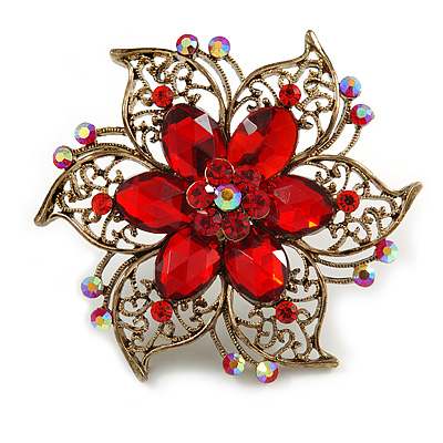 Oversized Vintage Inspired Filigree with Red Acrylic Bead, Red Crystal Flower Ring In Bronze Tone - 60mm D - 7/8 Adjustable Size