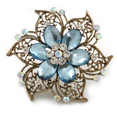 Oversized Vintage Inspired Filigree with Light Blue Acrylic Bead, Clear/ Ab Crystal Flower Ring In Bronze Tone - 60mm D - 7/8 Adjustable Size
