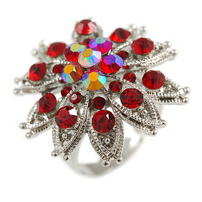 Red Crystal Flower Ring In Silver Tone - Size 7/8 Adjustable