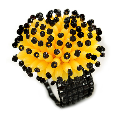 Bright Yellow/ Black Glass/ Acrylic Bead Flower Flex Ring - 35mm Diameter