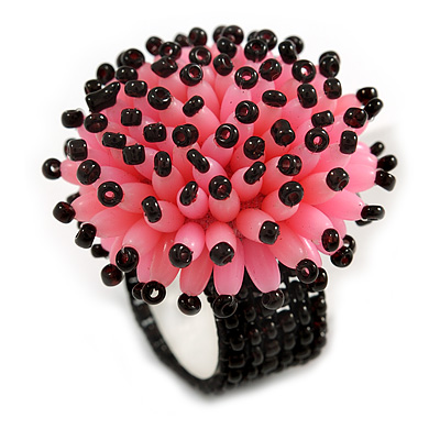 Pink/ Black Glass/ Acrylic Bead Flower Flex Ring - 35mm Diameter