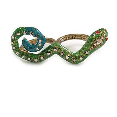 Green Enamel Crystal 'Snake' Double Finger Ring In Antique Gold Metal - Size 7/8