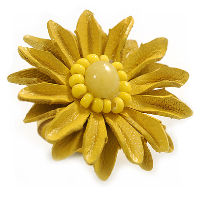 Yellow Leather Daisy Flower Ring - 40mm D - Adjustable