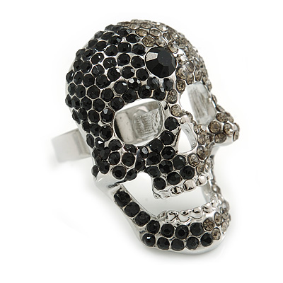 Dazzling Black/ Dim Grey Crystal Skull Cocktail Ring - Size 7/8 - Adjustable