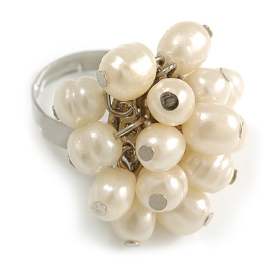 Cream Faux Freshwater Pearl Bead Cluster Ring in Silver Tone Metal - Adjustable 7/8