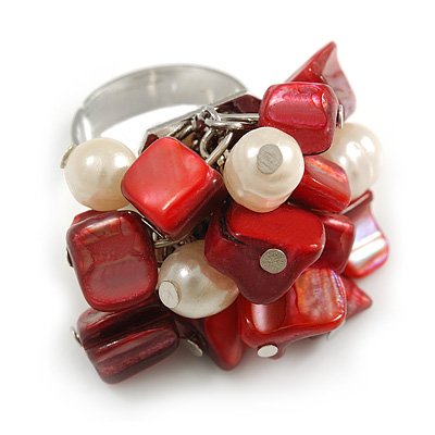 Red Sea Shell Nugget and Cream Faux Freshwater Pearl Cluster Silver Tone Ring - 7/8 Size - Adjustable