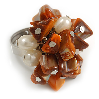 Burnt Orange Sea Shell Nugget and Cream Faux Freshwater Pearl Cluster Silver Tone Ring - 7/8 Size - Adjustable