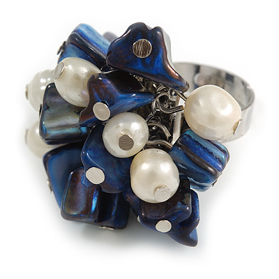 Dark Blue Sea Shell Nugget and Cream Faux Freshwater Pearl Cluster Silver Tone Ring - 7/8 Size - Adjustable