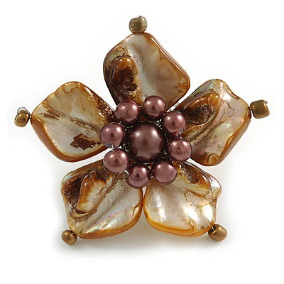 Brown Shell and Faux Pearl Flower Rings (Silver Tone) - 50mm Diameter - Size 7/8 Adjustable