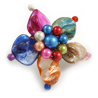 Multicoloured Shell and  Faux Pearl Flower Rings (Silver Tone) - 50mm Diameter - Size 7/8 Adjustable