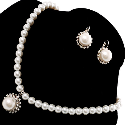 Silver Tone Glass Pearl Costume Jewellry Set