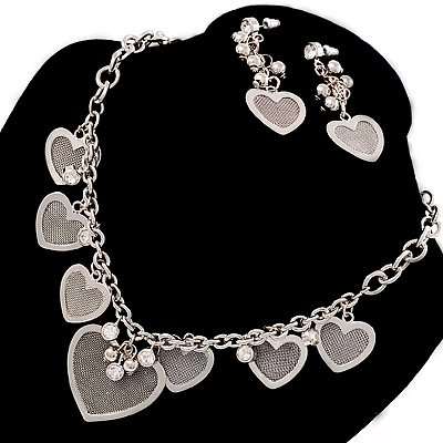 Rhodium Plated Mesh Heart Set