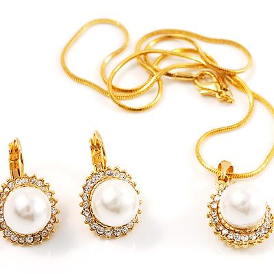 Classic Gold Tone Faux Pearl costume Set