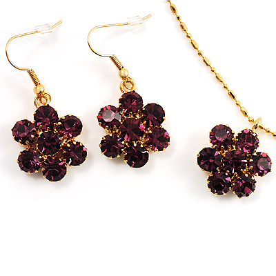 Purple CZ Daisy Necklace And Drop Earring Costume Set In Gold Tone