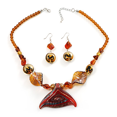 Fish Fin Glass Pendant & Earrings Set (Citrine & Amber Coloured)